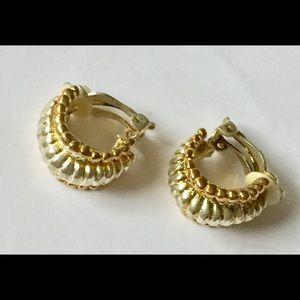 Vintage mixed metal gold silver hoop earrings